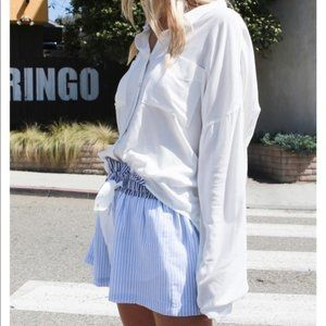 Tops - Puff sleeve button up blouse top w/ front pockets